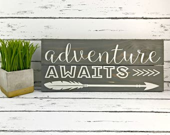 Adventure Awaits - Adventure Awaits Sign - Adventure Sign - Wedding Sign - Wedding Decor - Arrow Decor - Wood Sign