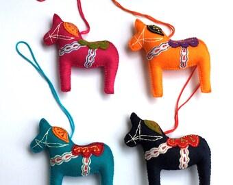 Dala Horse, Felt Dala Horse, Blue Orange Black Crimson Dala Horse, Swedish Dala Horse, Scandinavian Horse, Swedish Souvenir