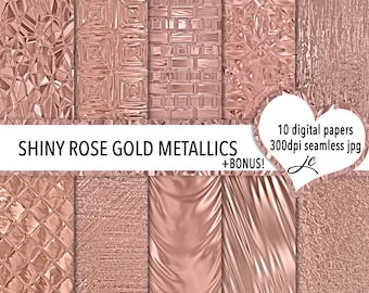 Shiny Rose Gold Metallics Digital Papers + BONUS Photoshop Pattern Files, Seamless, Textures, Backgrounds, Personal & Commercial Use
