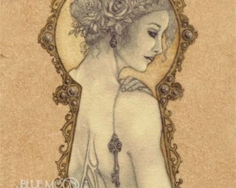Mistress of the Key - art nouveau faery key signed print - Mary Layton
