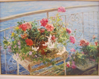 Original Oil Painting Balcony Flowers by Wilson Chu Oil on Canvas 18 x 24