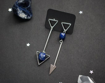Triangles earrings with natural blue Lapis lazuli