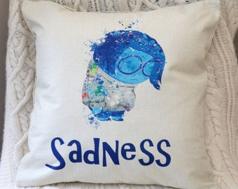 inside out sadness disney pixar watercolour inspired cushion pillow cover 45 by 45 cm  gift