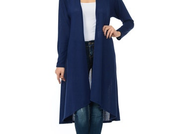 Hacci Open Front Longline Cardigan (10 Colors Available)