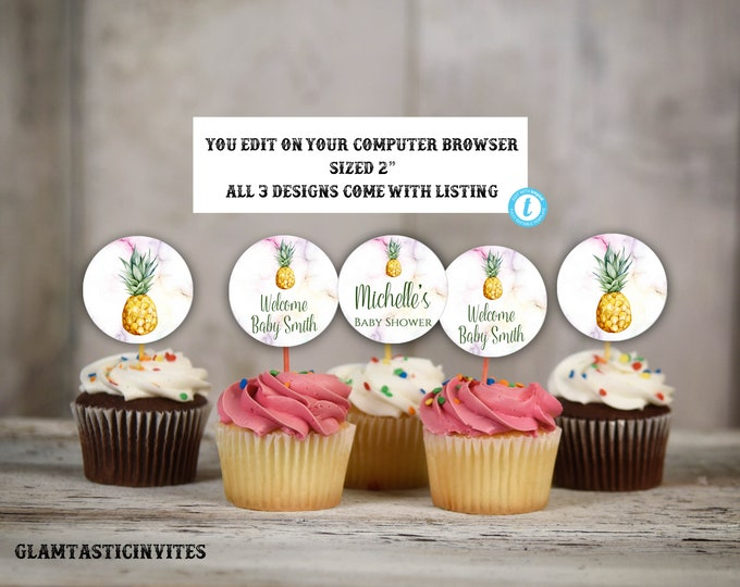 Pineapple Cupcake Toppers, Pineapple Template, Pineapple Baby Shower, Pineapple Decor, Pineapple Tags, Favor tag, Instant Download, Template