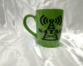 Ham Radio Call Sign coffee mug with tower - Amateur Radio - Christmas Gift - Coffee Mug - Ham radio Enthusiasts