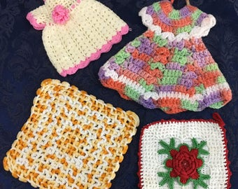 Lot of 4 Vintage Hand Crafted Crochet Pot Holder Dresses  and more  M16