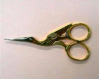 "3-1/2"" Gold Plated Fine Point ""STORK"" EMBROIDERY SCISSORS"