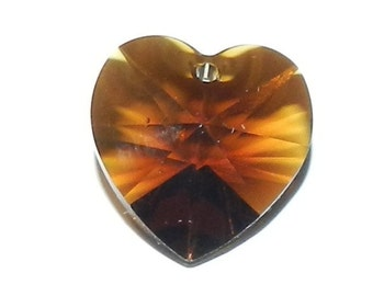 SCI287f Mocca Brown 14mm (6202) Faceted Heart Swarovski Crystal Bead