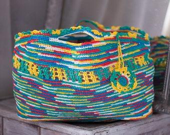 Rainbow Bag Festival Bag Plarn Tote Ecofriendly Upcycled Shopping Bags Summer Beach Red Blue Handbag Multicolored Crochet Purse Plarn Bag