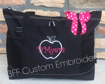 Personalized Monogrammed Teacher Apple School Tote Lots of Colors to Choose from