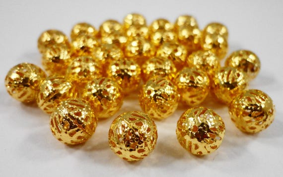 Gold Filigree Beads, 10mm Round Aluminum Lightweight Hollow Beads, Antique Gold Metal Spacer Beads, Loose Beads for Jewelry Making, 25pcs