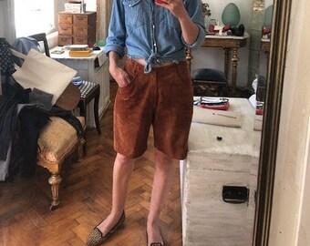 M / vintage suede brown bermuda shorts loose leather