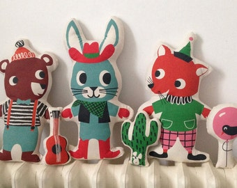 Set of 3 Retro DIY Animal t- towel toys, Sewing Kit Toy, Make your own toy, Retro Toys, Quirky T- Towels