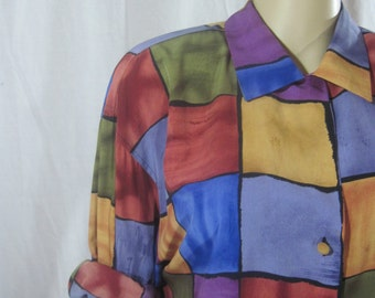 1980's Oversized Color Block BLOUSE by LECAVIAR size large