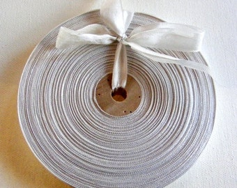 Vintage French Woven Ribbon -Milliners Stock- 5/8 inch 1930's-40's Palest Gray