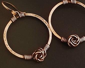 Hammered hoop earrings  - wire wrapped hoops -  hammered copper hoops -  copper wire hoops - hammered copper jewelry -  medium hoops