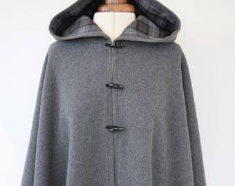 Grey Black Wool Tartan Lined Cape, Outlander Inspired Cloak, Hooded Cape Coat, Wool Winter Cape Cloak, Plus Size Cape Jacket