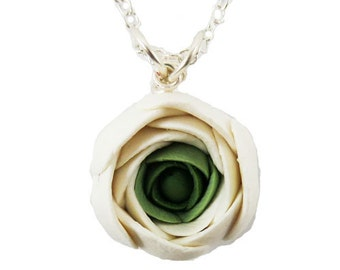 White Ranunculus Necklace - Ranunculus Jewelry