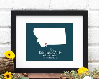 State Map Art, Personalized Wedding Gift, State Map Print, Montana Art, Personalized Montana State Map, Gifts Under 25 -  Art Print