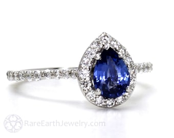 Blue Sapphire Engagement Ring Pear Diamond Halo Sapphire Ring 14K Gold