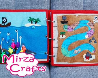 PATTERN & TUTORIAL 2 Quiet book pages Piratebook - Sea and treasure map