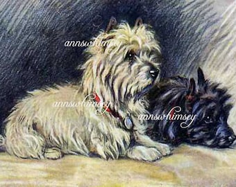 "Home Decor,  ""Footsteps"", Dog Art, Someone's Home, Listen, They're Home -  Restored Vintage Art  #165"