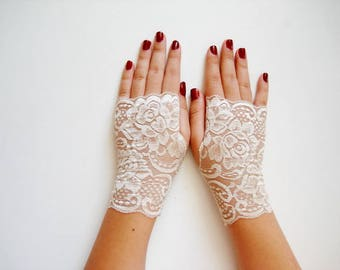 Champagne Lace fingerless gloves, Beige Lace Fingerless Gloves Champagne Cream Wedding Gloves