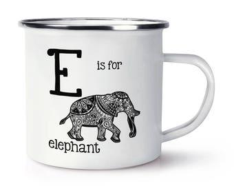 Letter E Is for Elephant Retro Enamel Mug Cup