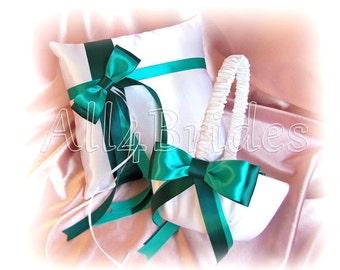 Jade and Teal wedding flower girl basket and ring bearer pillow, wedding ring cushion and basket set.