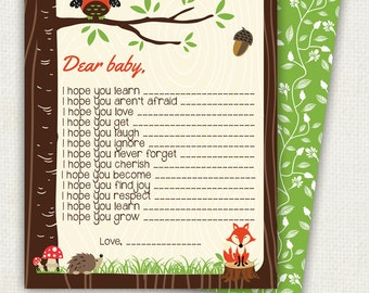 WOODLAND Baby Wish Card, forest animals, customizable text upon request, Printable file, owl and fox shower party, woodland, hoot in tree