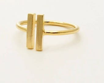 Stainless steel gold color bar ring