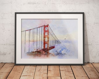 San Francisco Art Golden Gate Bridge Watercolor Art Print Office Decor Gift  For Her California Wall