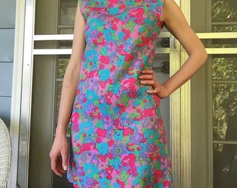 Pastel Floral 60s Shift Dress