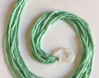 Vintage European Glass Bugle Beads -  TURQUOISE
