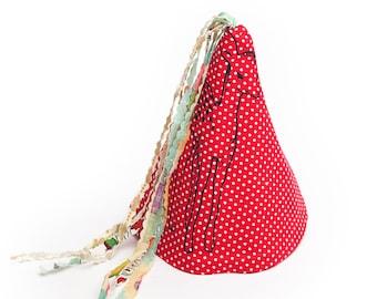 Lunares rojo de punto sombrero de fiesta de tela de la impresión de venado poco