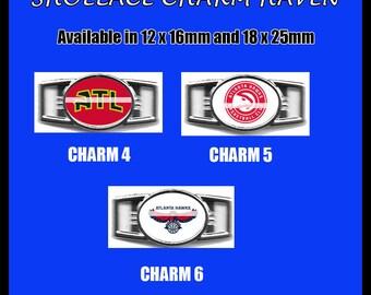 ATLANTA HAWKS Shoelace Charm  Paracord Bracelet Charm Oval Charm 12 x 16mm or 18 x 25mm Charms