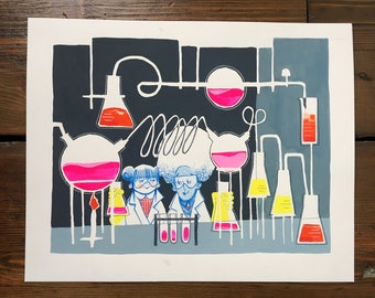 Chemical Pals – gouache painting