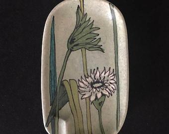 World Cup of Sales Vintage Bagni Raymor Italian Mid Century Hand Painted Pottery Trinket Dish Ashtray Wildflowers