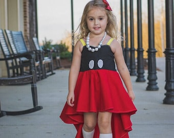 Mickey Dress, high low dress, disney dress, mickey mouse dress, boho dress, girls clothing, girls maxi dress, girls dress, mickey birthday