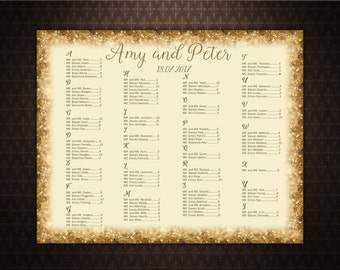 Alphabetically Wedding Seating Chart, Digital File, Printable, Gold Sparkles, code-016