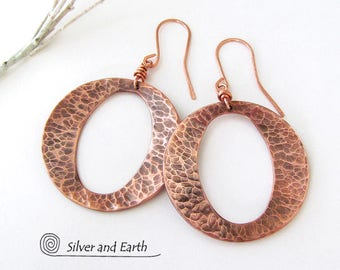 Hammered Copper Hoop Earrings, Modern Everyday Earrings, Copper Anniversary Gift for Women, Handmade Modern Metal Jewelry, Big Copper Hoops