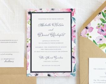 Floral Layered Wedding Invitation - White, Navy Blue, Kraft - Spring Summer Botanical - The Enchanted Suite - Elegant, Formal Garden Wedding