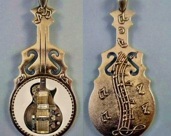 Guitar Pendant,Vintage Guitar, Antique Guitar, Guitar Necklace, Steampunk Guitar, Music Jewelry, Ancient Guitar, Reversible.