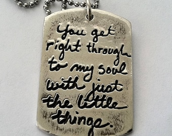 Single or Double Sided Engraved Dog Tag / Writing from Lost Loved one/ -Pendant or Keychain Silver etched writing - Loved ones writing