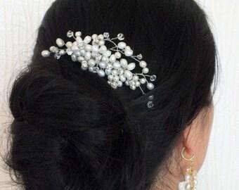 Evensong - Freshwater Pearl Rhinestone Bridal Hair Comb