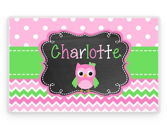 Kids Placemat, Owl Personalized Placemat, Owl Personalized Gift, Owl Personalized Placemat, Kids Personalized Gifts, Placemat, KIds Gifts