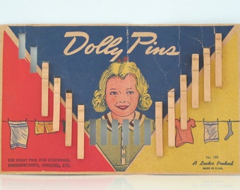 Vintage Card of Dolly Pins Clothespins