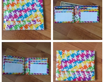 Rainbow Houndstooth and White Duct Tape Wallet