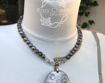 Gray Freshwater Pearl Necklace with Shell Pendant